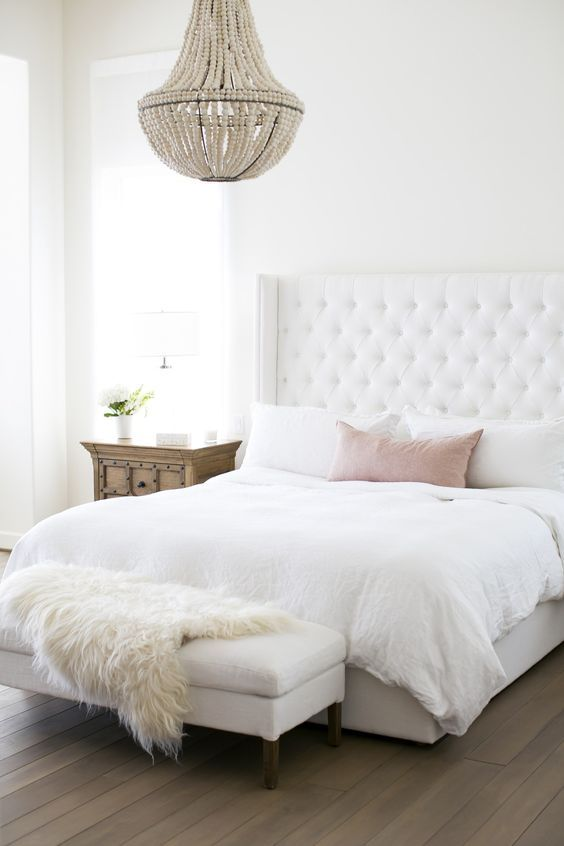25 Best Ideas About White Headboard On Pinterest White Bedroom Decor Grey Fur Throw And White Tufted Bed