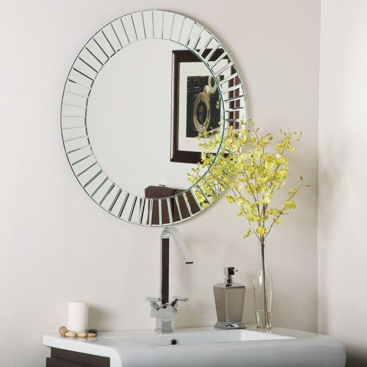 Frameless Beveled Glow Wall Mirror Modern Bathroom #Modern