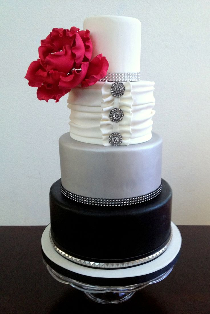 black, white and silver wedding cake ~  we ❤ this! moncheribridals.com #weddingcake