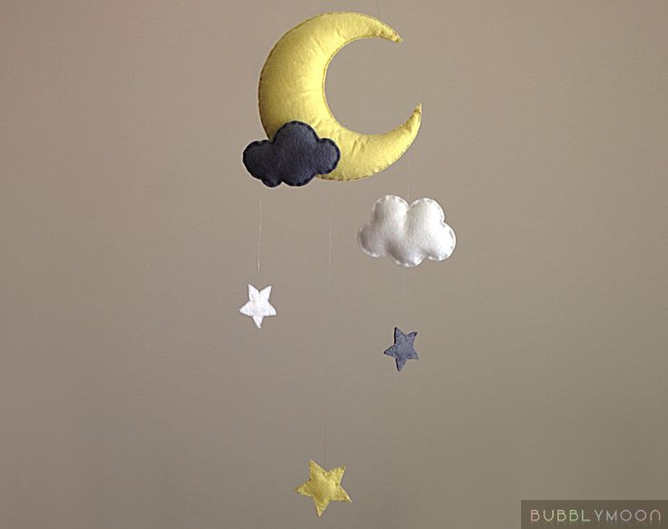 Moon Baby Mobile, Stars Nursery Decor, Clouds Baby Nursery Mobile, Stars Cot/ Crib Mobile- Yellow and Grey Nursery Decor- Moon Wall Hanging by BubblyMoon on Etsy https://www.etsy.com/listing/242551570/moon-baby-mobile-stars-nursery-decor
