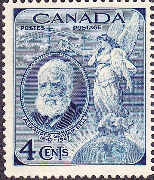 Canada Stamp 1947 -  blue .4¢ commemorating the 100th anniversary of the birth of Canadian Alexander Graham Bell in 1847