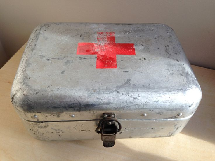 Vintage small  Retro aluminium first aid box with complete contents from Eastern Europe by trevoranna on Etsy