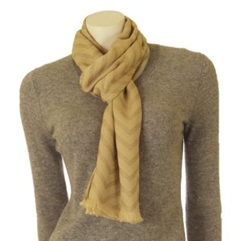 Moschino Women's Beige Zig-Zag Wool Designer Scarf