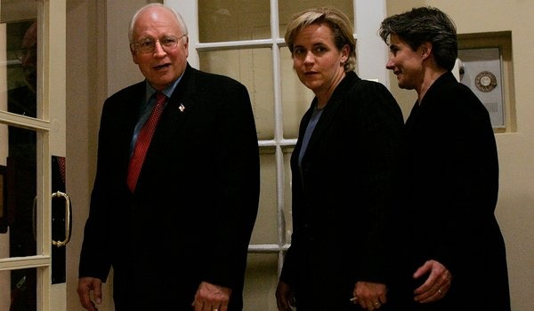 """For Some, Same-Sex Marriage Is Not Politics, It's Personal: """"Conservative Republicans like Dick Cheney, with his daughter Mary Cheney, center, and her partner, Heather Poe, have had their views altered by the people in their lives. """""""