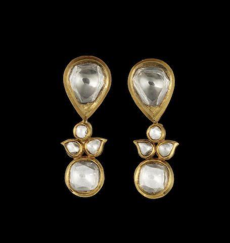 A pair of diamond-set enamelled gold pendent Earrings Jaipur XXsec. 4400$