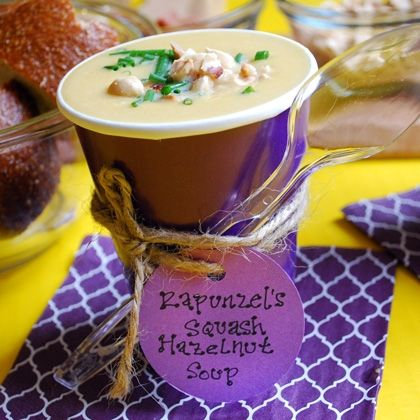 Rapunzel's squash & hazelnut soup is a definite crowd pleaser for any Tangled-themed party- or weekday dinner! #recipes #Tangled