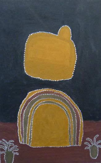 Goodie Barratt  Cuminbah  2002  Ochre, Clay and Charcoal on Linen  140 x 90 cm