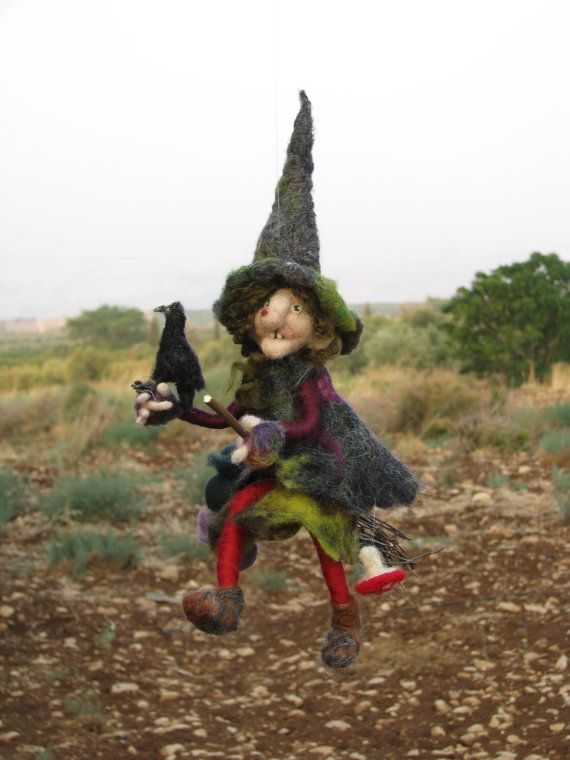 halloween witch on broomstick with her rook needle felted halloween decoration waldorf inspired