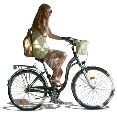 A young woman riding a bicycle, in partial tree shade. This kind of specific lighting can come in really handy in visualization!
