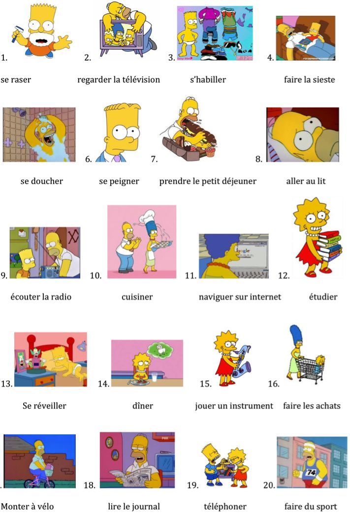 Reflexive Verbs .Les activités quotidiennes des Simpson.
