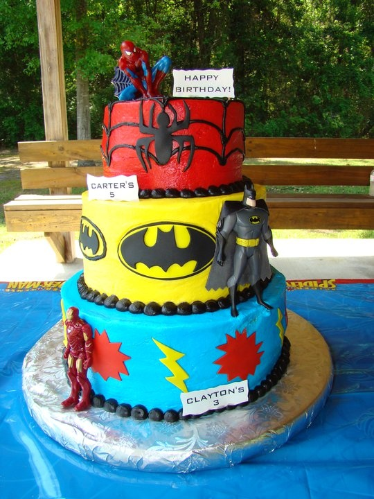 Superhero Birthday Cake Party Superheros Spiderman