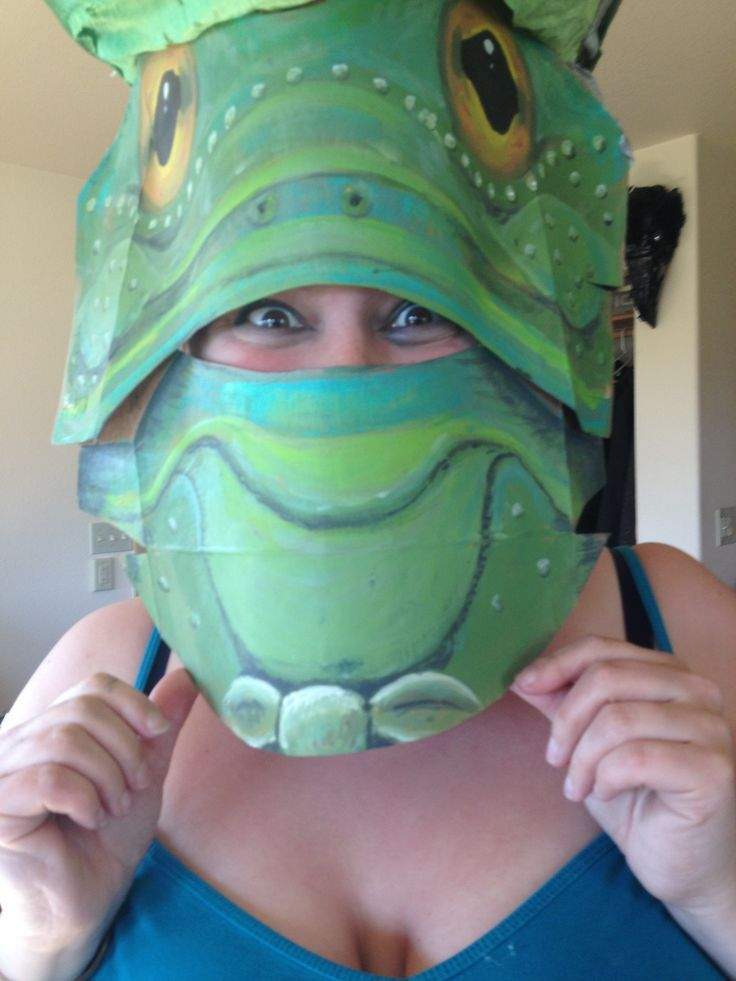 Frog mask, custom mask, designer mask, one of a kind mask, upcycled
