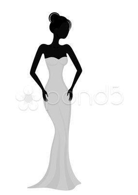 Женский силуэт в вечернем платье картины