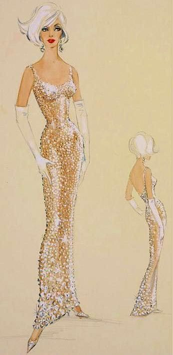 Sketch by costume designer Jean Louis for Marilyn Monroe's 'Happy Birthday' performance at Madison Square Garden