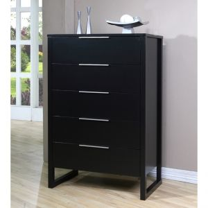 Rubberwood Wood 5-Drawer Chest
