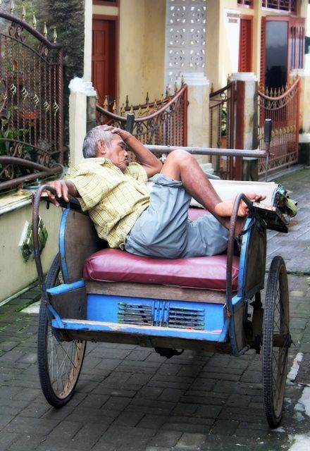 local Becak driver waiting for passanger