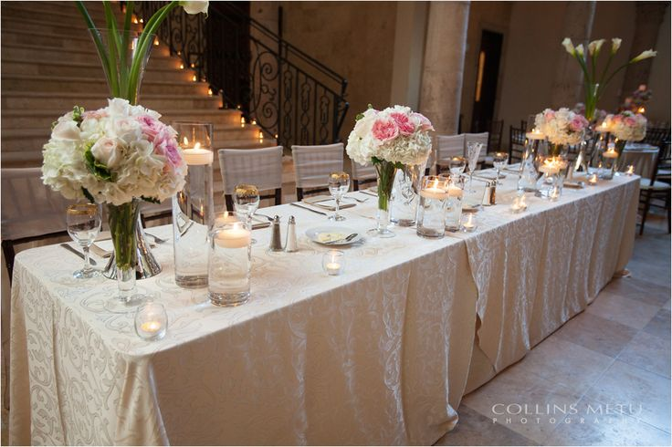 Our Beautiful Monaco Damask Linen Used For This Brideu0027s Gorgeous Head  Table, Itu0027s A Golden Ivory Damask As A Neutral Base For The Ivory And Blush  Fu2026