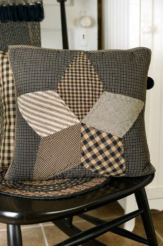 """Farmhouse Star Quilted Pillow 16"""" Filled"""