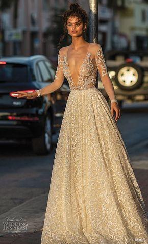 75b75c687a4f berta spring 2019 bridal long sleeves deep v neck full embellishment glizty  glamorous a line wedding dress open back chapel train (9) mv -- Berta Spring  ...