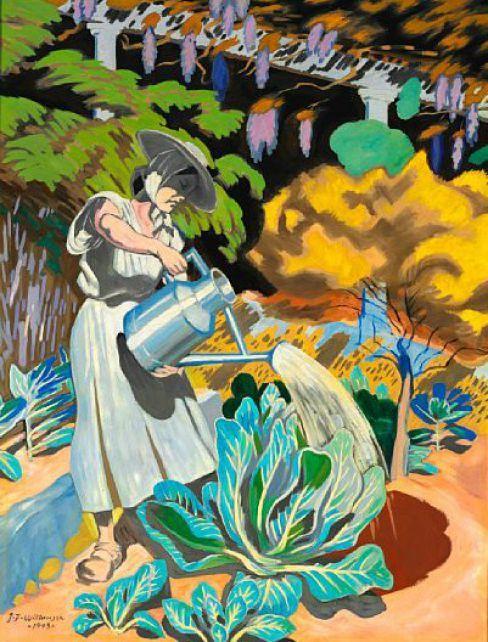 """J. F. Willumsen: """"Michelle Bourret vander kaal og grøntsager"""". 1943. Olie på lærred. 165 x 125 cm."""
