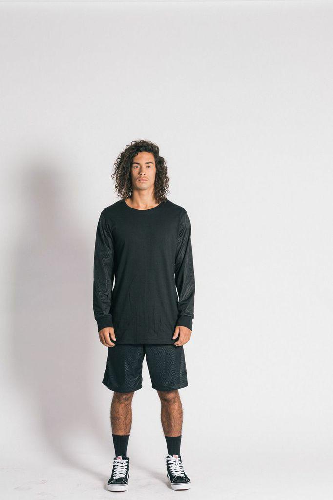 Ystrdaybone - Mesh Black Long Sleeve T