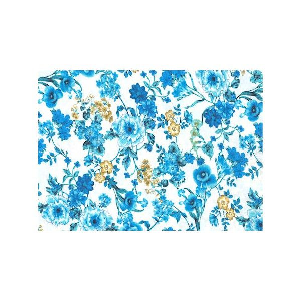 Viscosa estampada flores cretona azules - Tejidosdemoda.com