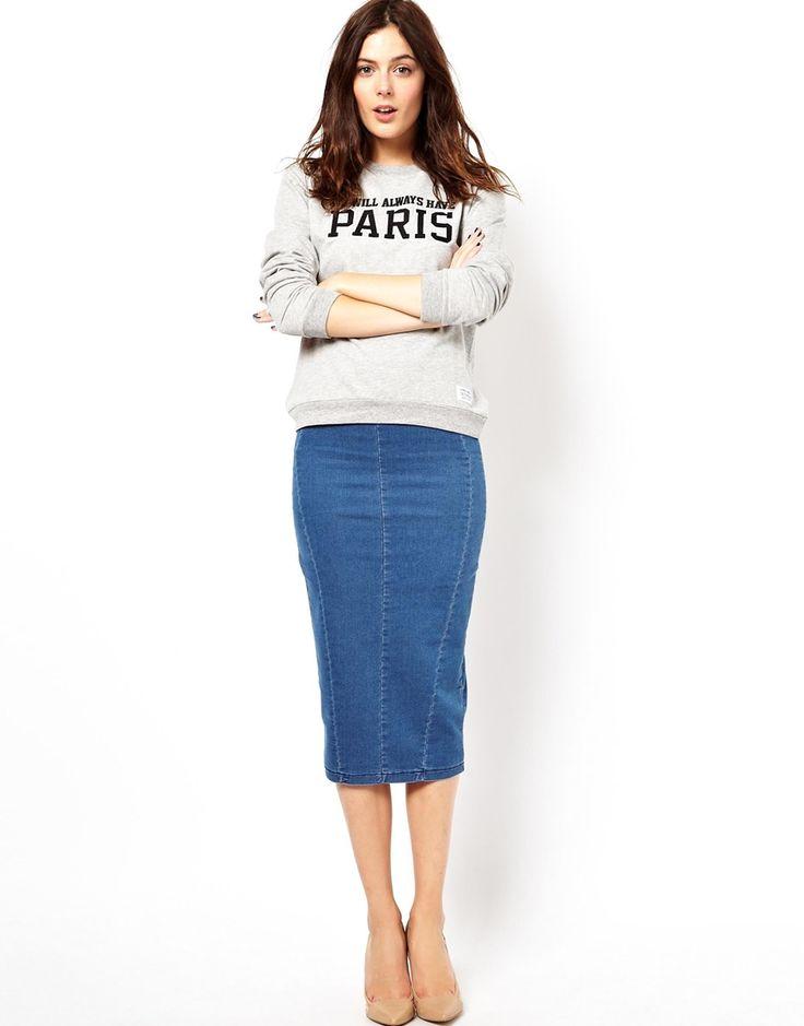 Midi Denim Pencil Skirt