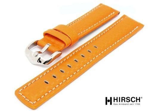 Hirsch Carbon Fiber Orange Leather Watch Band Strap 0259-20-76