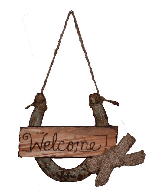 "Charming rustic welcome sign features a reclaimed horseshoe with a hand engraved piece of re-purposed wood. A burlap bow made from old coffee bean bag completes this country welcome! Measures approx 5"" for the horseshoe on a 5"" piece of twine . Horseshoes may vary a bit in size, texture and shape."