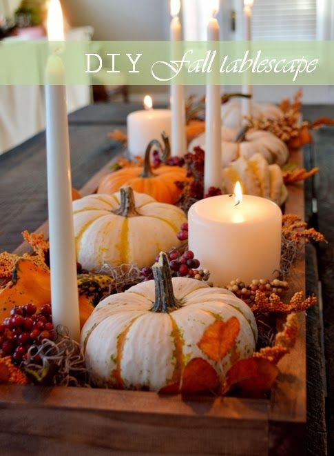 Pretty centerpiece for Thanksgiving/Fall: Holiday, Thanksgiving Centerpiece, Idea, Pumpkin Centerpiece, Fall Decor, Fall Table, Table Centerpiece, Autumn Tablescape