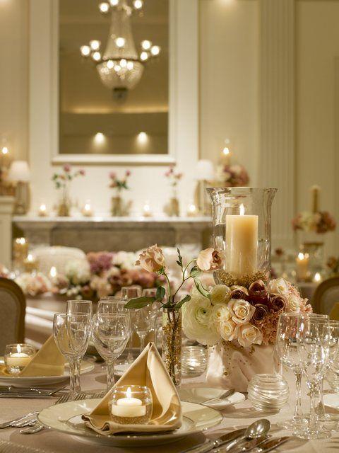アフィーテ目黒|結婚式場写真「ゴールドアイボリー:ナイトウエディングにはキャンドルが印象的」 【みんなのウェディング】