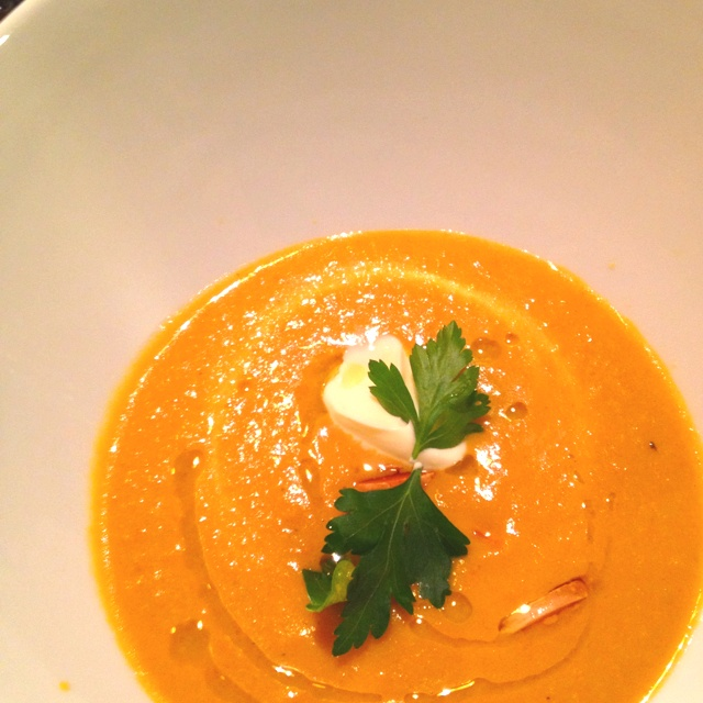 Students made yellow pepper and almond soup