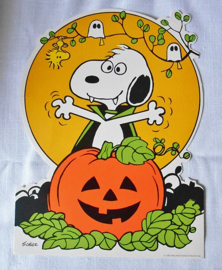 vintage hallmark snoopy halloween window decoration cut out ebay - Halloween Cutout Decorations