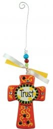 CROSS: TRUST. Colorful inspirations to brighten your day! Wooden crosses with hanging strings, beads & jewels: 83mm x 19mm x 118mm.