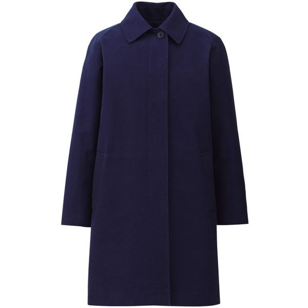 UNIQLO DIP g.m.b.p. Cotton Coat A (€54) ❤ liked on Polyvore featuring outerwear, coats, jackets, cotton coat, blue coat, uniqlo and uniqlo coat