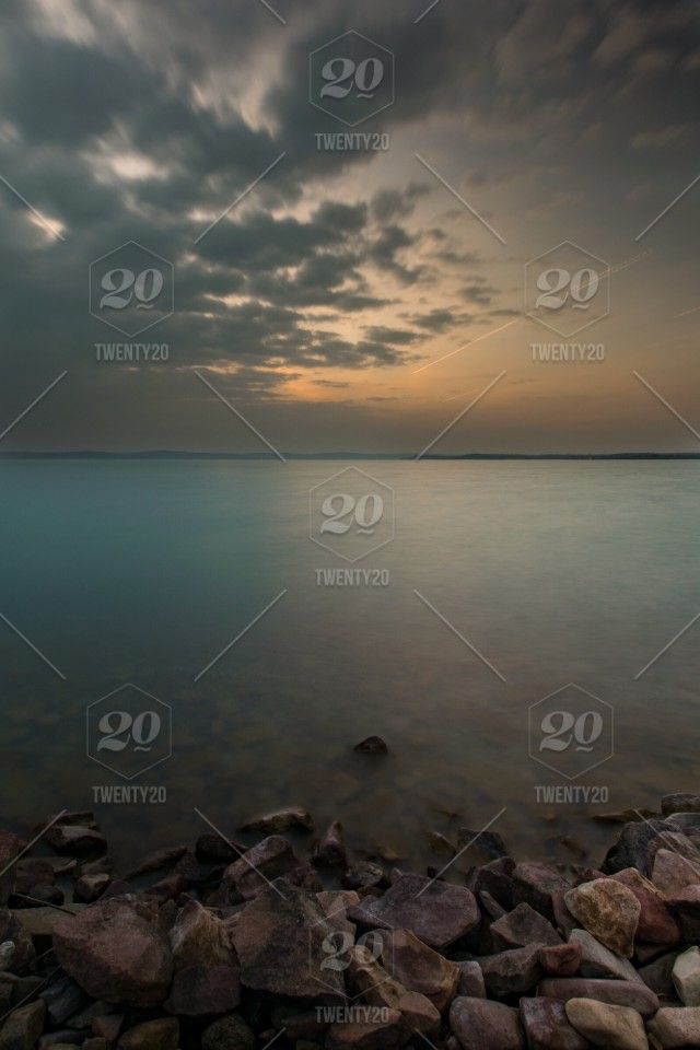 stock photo, nature, water, sunset, blue, landscape, lake, tranquility, peace, serenity, hungary, view, peaceful, tranquil, balaton, peace-of-mind