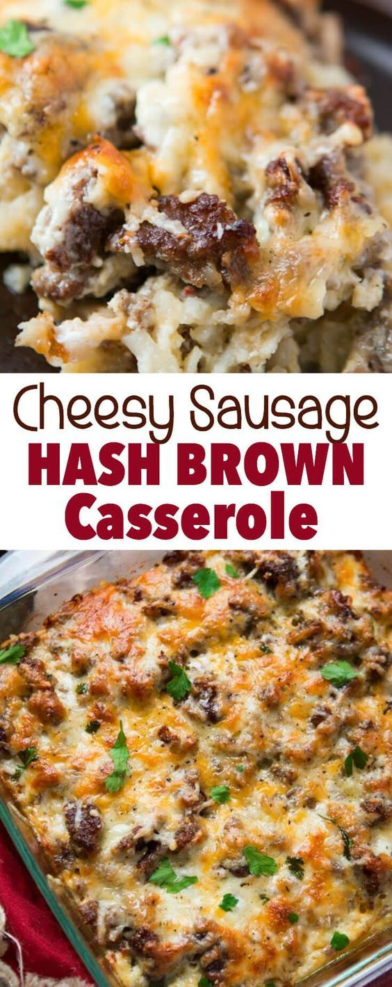 Looking for a really delicious breakfast idea? This cheesy sausage hash brown breakfast casserole is full of flavor but totally easy to make. via @ohsweetbasil