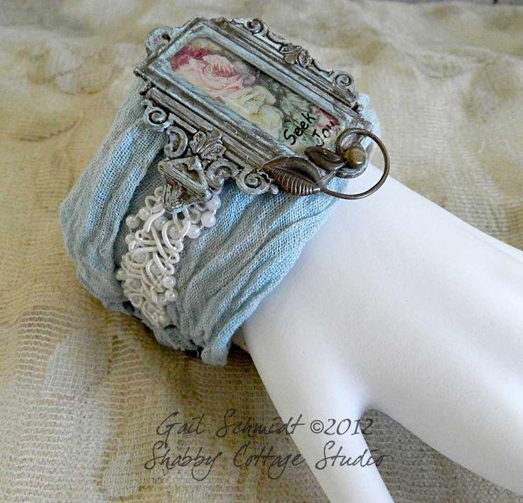 Fabric Cuff Bracelet -Seek Joy. $20.00, via Etsy.