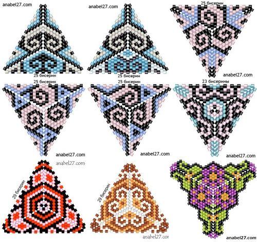 плетение треугольников из бисера