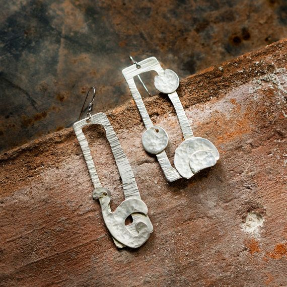 Handcrafted earrings pair, totally handmade.    In hand hammered copper, sterling silver plated, silver-welded components.