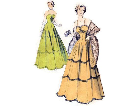 1940s Evening Dress Pattern Advance 5048 Ball by FriskyScissors