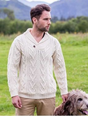 Shawl neck sweater one button fisherman sweater for Aran crafts fisherman sweater