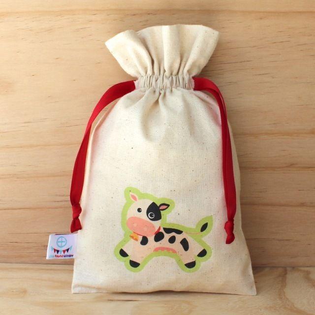 Cow Drawstring Calico Bag