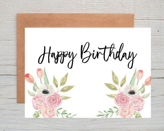 Pretty Birthday Card For Her Flower Birthday Card Floral Etsy Birthday Cards For Her Birthday Cards Flower Birthday Cards