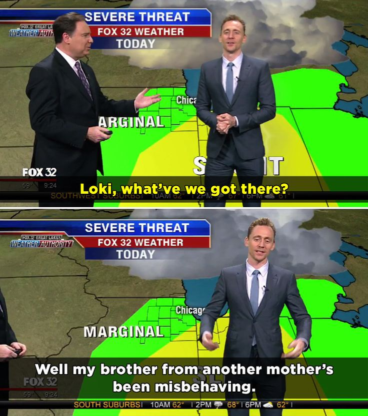 Tom took over the forecast as Loki, the character he plays in the Marvel films.