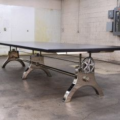 Chrome Faux Crank Conference Table. What an amazing dining table this would make in a slightly shorter length in an industrial setting...