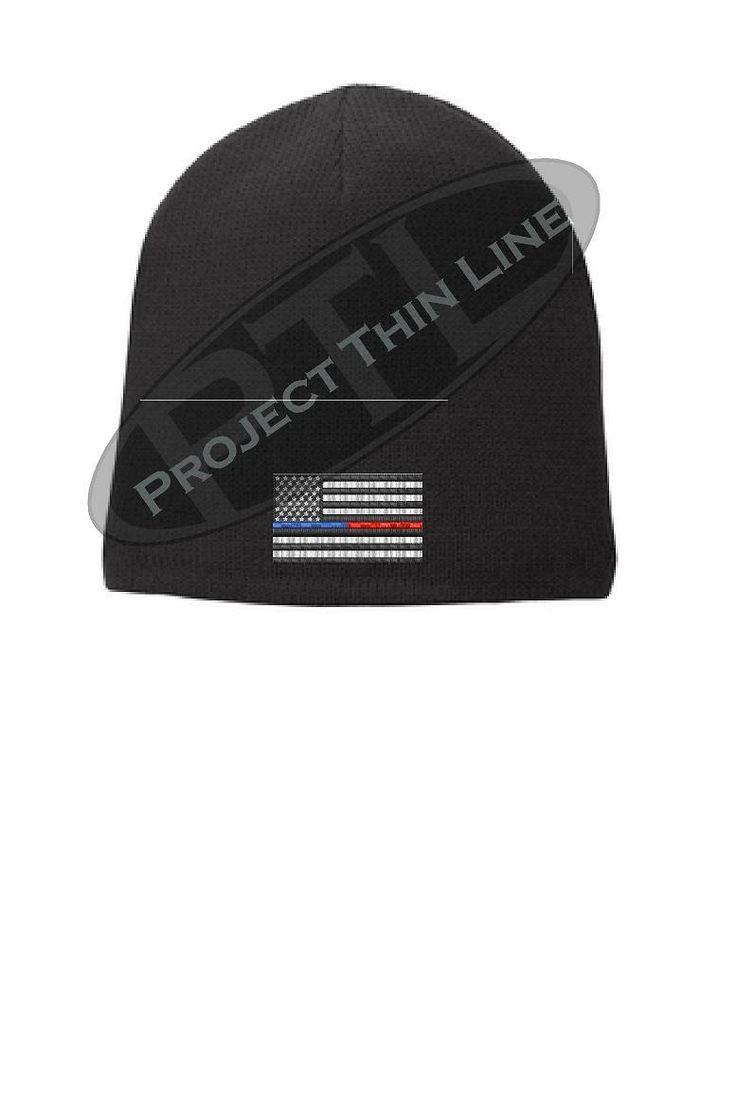 BLACK Thin BLUE / RED Line FLAG Skull FLEECE LINED Beanie Hat Cap