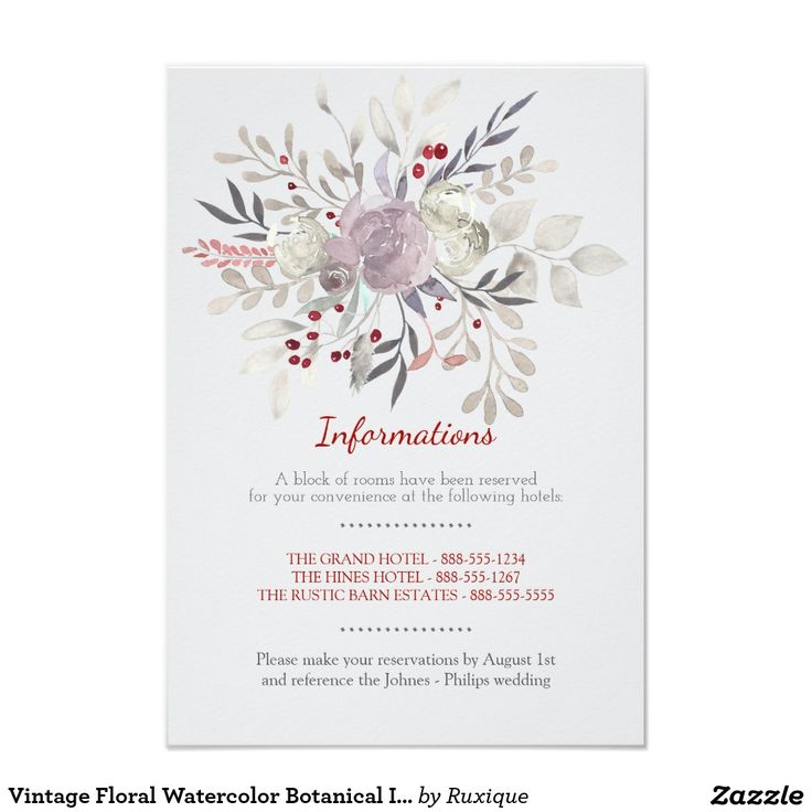 #Vintage #Floral #Watercolor #Botanical Information Card Delicate vintage watercolor flowers, romantic garden #wedding invitation - information / accomodation card.