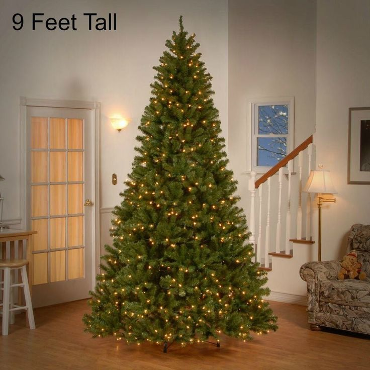 9 Ft Tall Pre Lit Christmas Tree 700 Clear Lights Holiday