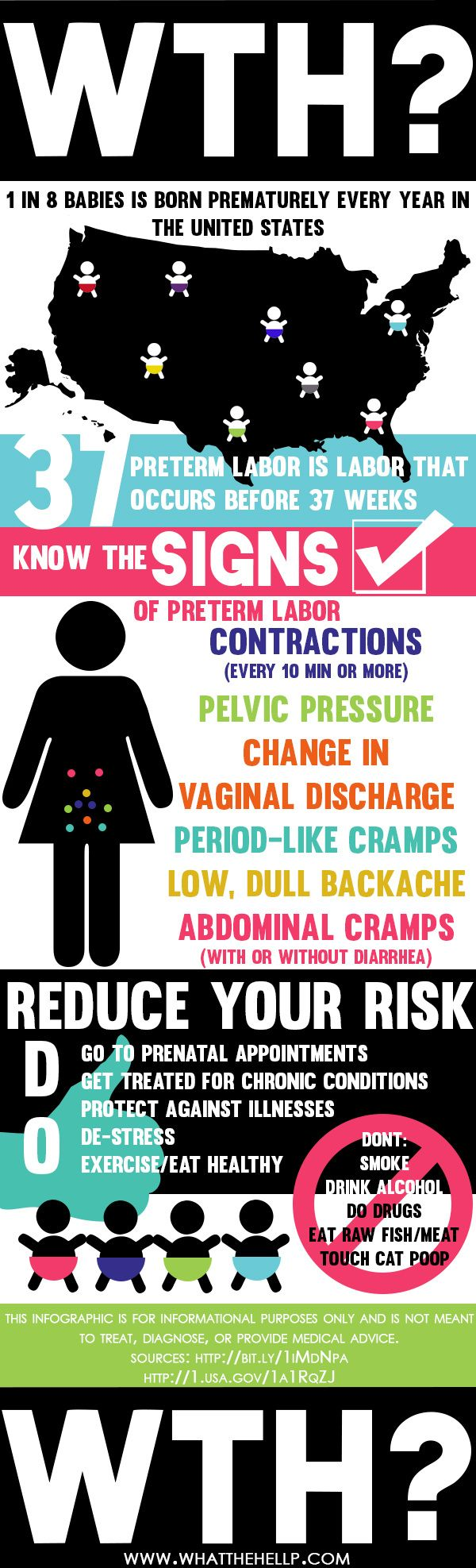 Preterm babies and labor signs infographic from www.whatthehellp.com #pregnany #preterm